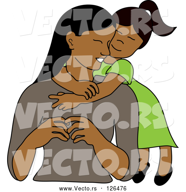 Vector of Loving Indian or Hispanic Daughter Hugging Her Mom from Behind