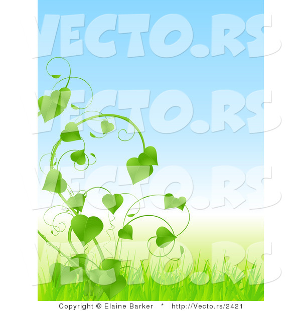 Vector of Lush Green Vines with Love Heart Shaped Leaves and Blue Sky with Grass