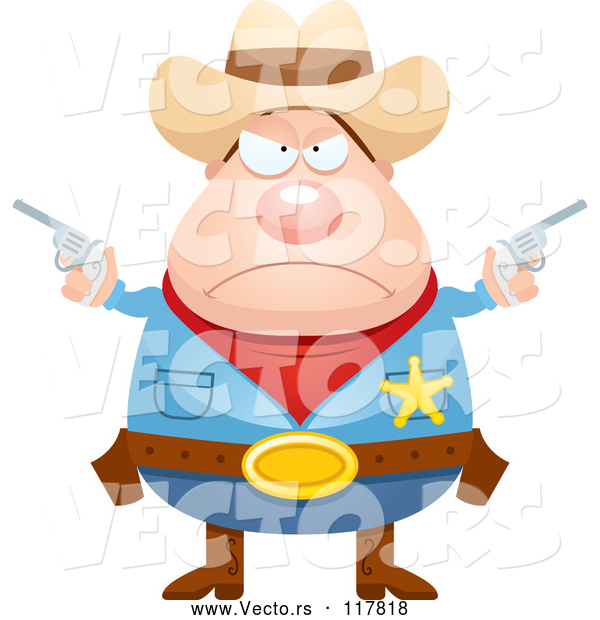 Vector of Mad Sheriff Cowboy with Pistols
