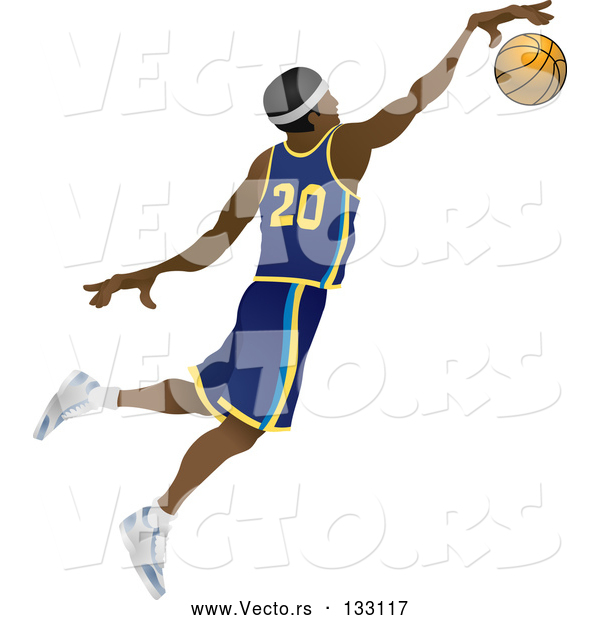 Vector of Male Black Basketball Athlete Jumping with the Ball