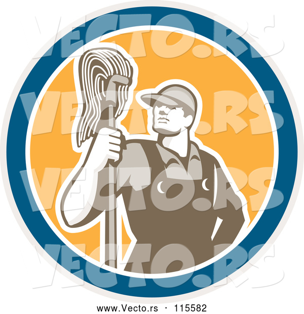 Vector of Male Janitor with a Mop in a Blue White and Yellow Circle