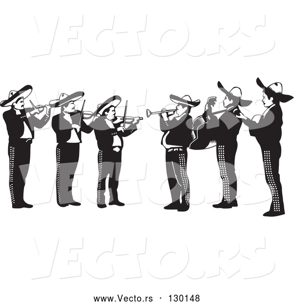 Vector of Mariachi Band of Men Playing Violins, Trumpets and Guitars in Mexico