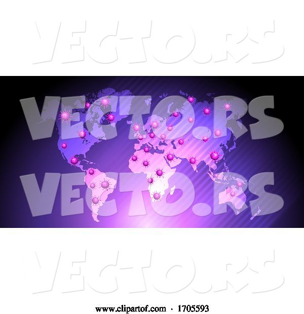 Vector of Medical Background with Virus Cells over World Map