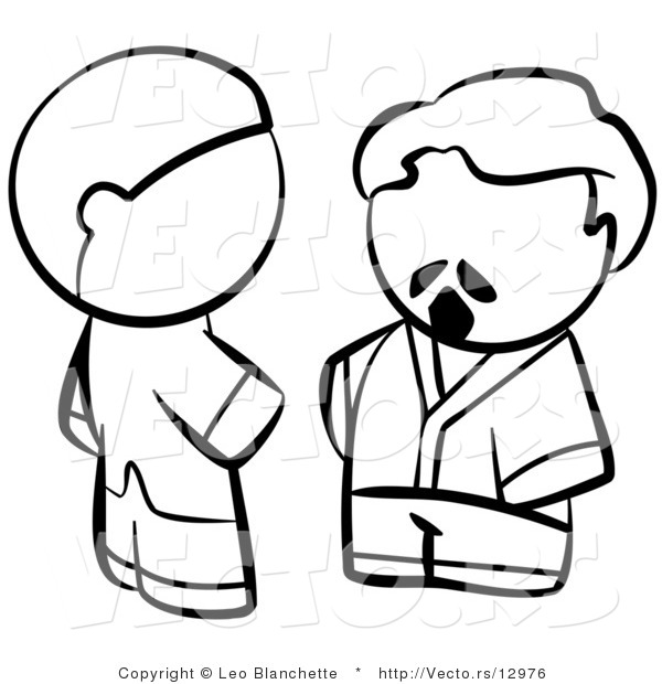 Vector of Men Talking - Coloring Page Outlined Art