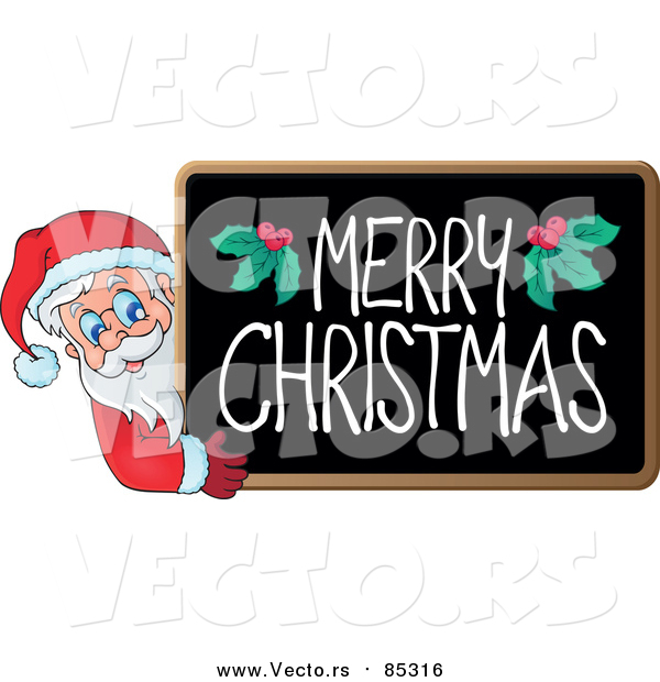 Vector of Merry Christmas Blackboard with Santa