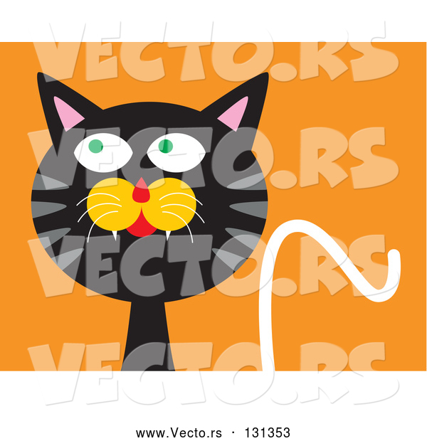 Vector of Mischievous Black Cat with Gray Stripes, Looking Upwards and to the Side While Thinking of Getting into Trouble