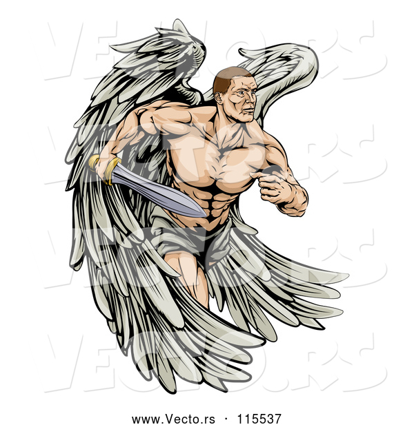 Vector of Muscular Cartoon Warrior Angel Running with a Sword