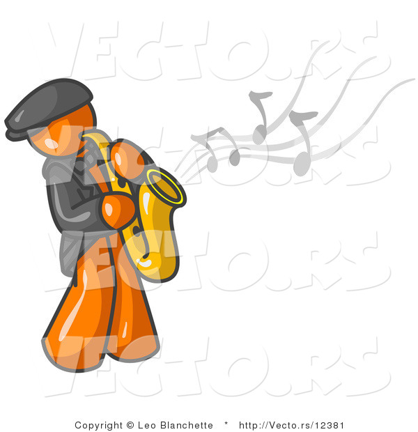 Vector of Musical Orange Guy Playing Jazz with a Saxophone