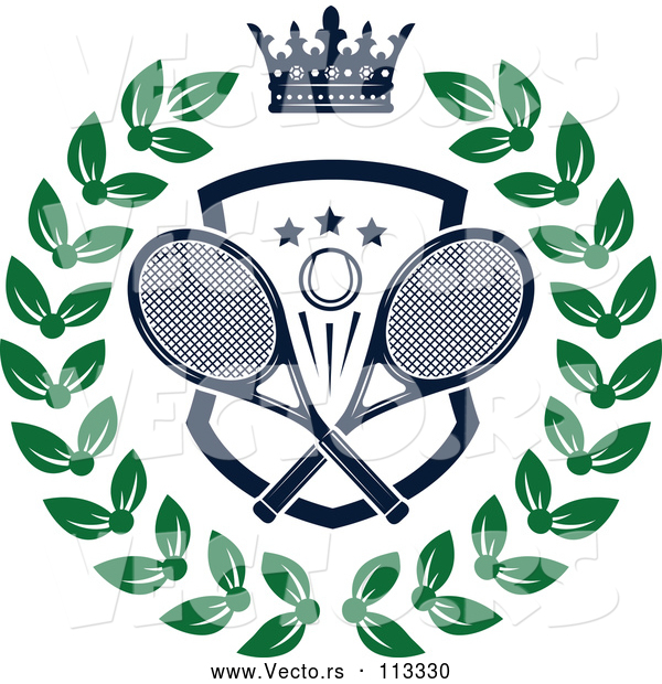 Vector of Navy Blue Crown over a Tennis Ball and Racket Shield in a Green Wreath
