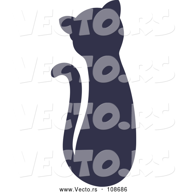Vector of Navy Blue Silhouetted Sitting Cat