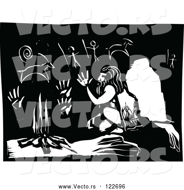 Vector of Neanderthal Warming up by a Fire in a Cave with Drawings Black and White Woodcut