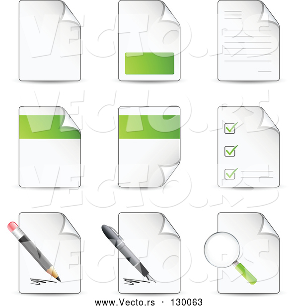 Vector of Nine Letters and Files with Check Lists, Magnifying Glasses, Pens and Pencils