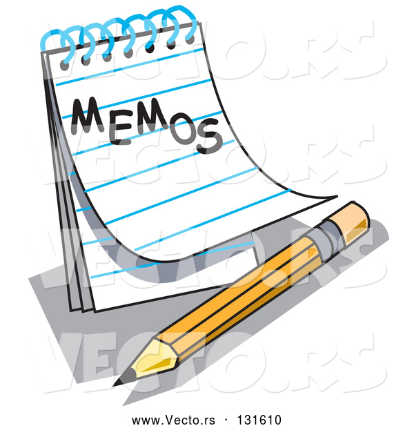 "Vector of Notepad with Lined Pages with ""Memos"" Written on the Front, Resting by a Yellow Number Two Pencil with an Eraser"