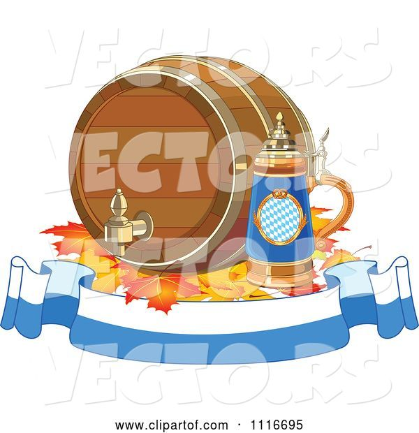 Vector of Oktoberfest Beer Keg and Stein with Autumn Leaves on a Banner