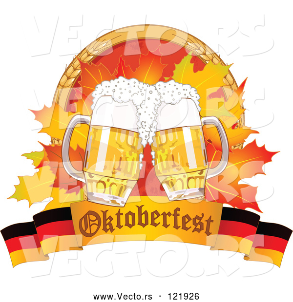 Vector of Oktoberfest Beer Mugs and Autumn Leaves with Wheat over a German Banner