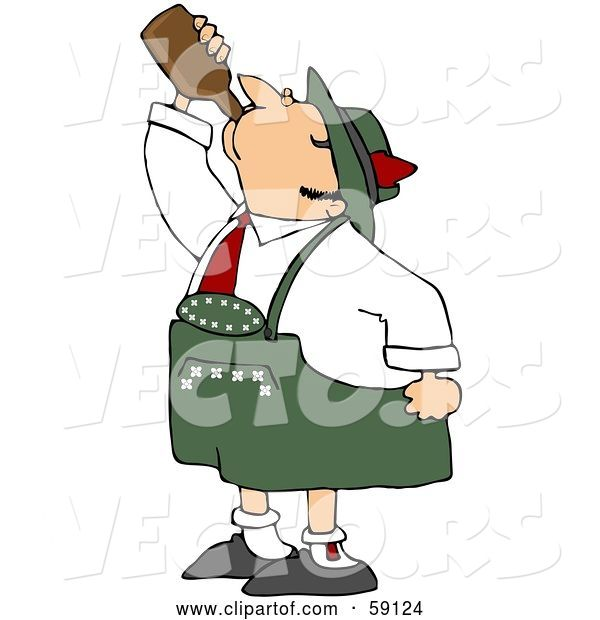 Vector of Oktoberfest Guy Guzzling Beer from a Brown Bottle