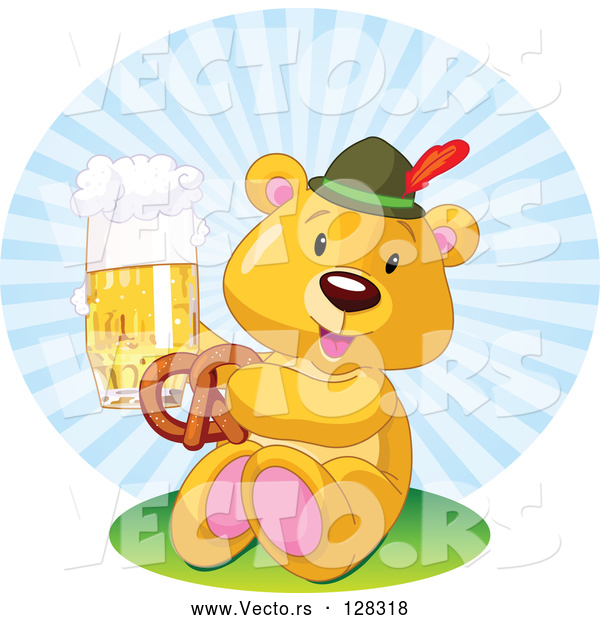 Vector of Oktoberfest Teddy Bear Eating a Pretzel and Drinking Beer
