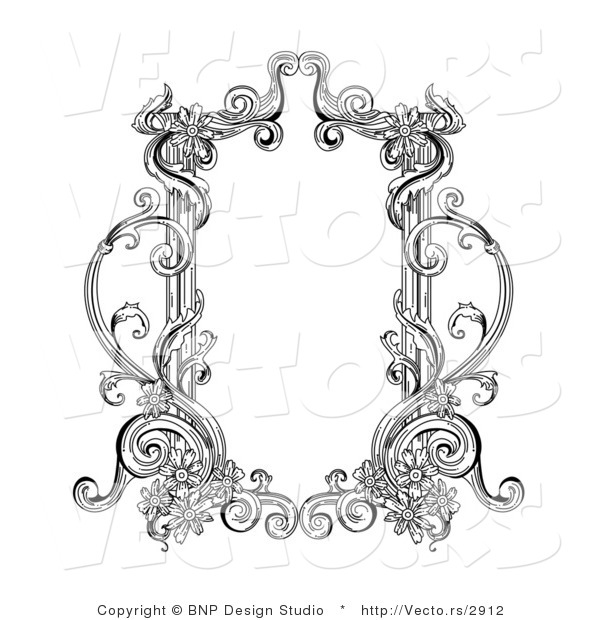 Vector of Old Black and White Victorian Blank Text Box Frame