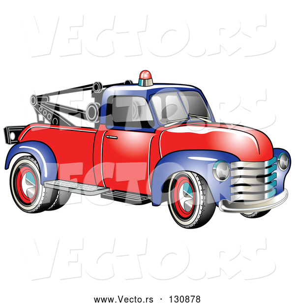 Vector of Old Blue Red 1953 Chevy Tow Truck with a Light on Top of the Roof