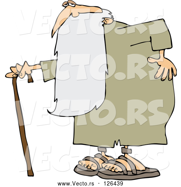 Vector of Old Guy, Father Time, Holding His Back and Walking with a Cane