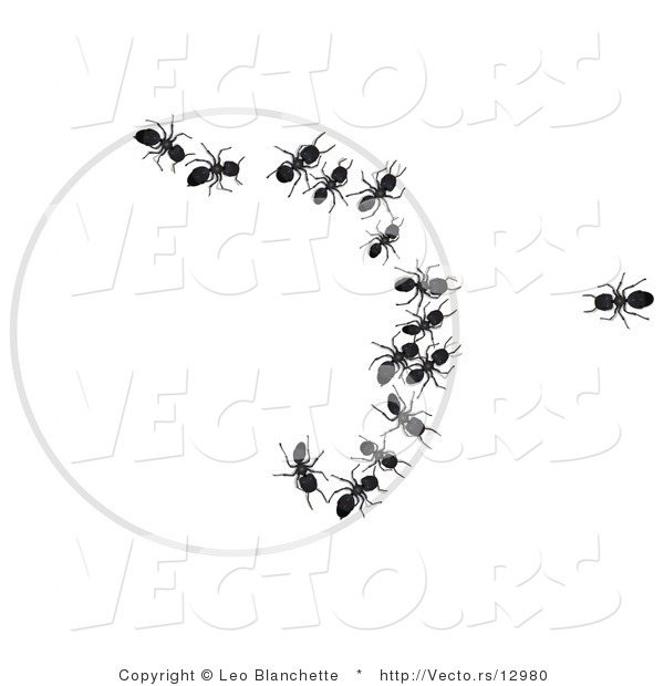 Vector of One Ant Looking at Group of Ants Trapped Within a Circle