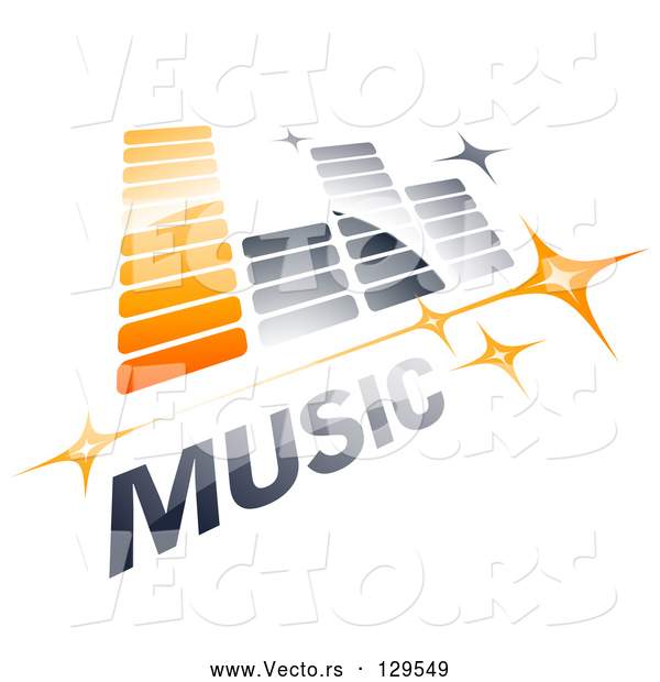Vector of Orange and Gray Music Equalizer with Stars and MUSIC Text