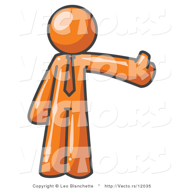 Vector of Orange Business Guy Giving the Thumbs up