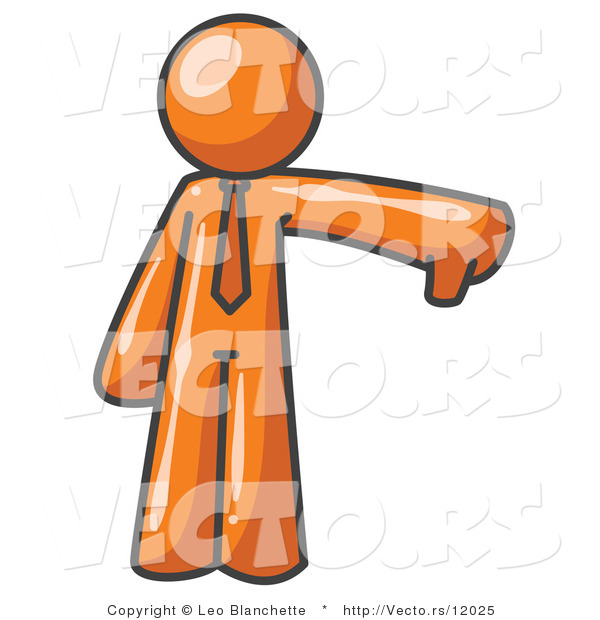 Vector of Orange Business Guy Giving the Thumbs up Then the Thumbs down