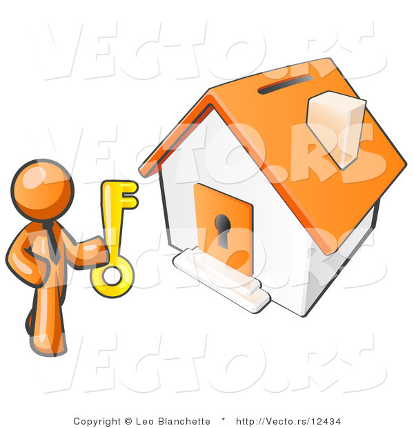 Vector of Orange Business Guy Holding a Skeleton Key and Standing in Front of a House with a Coin Slot and Keyhole
