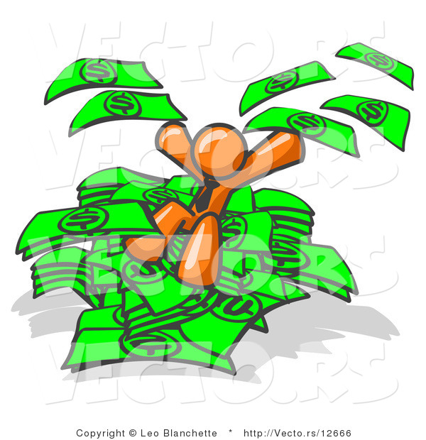 Vector of Orange Business Guy Jumping in a Pile of Money and Throwing Cash into the Air