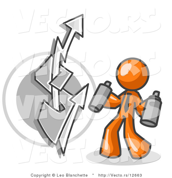 Vector of Orange Business Guy Spray Painting a Graffiti Dollar Sign on a Wall