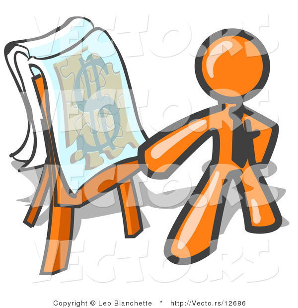 Vector of Orange Business Guy Standing by a Dollar Sign Puzzle on a Presentation Board During a Meeting