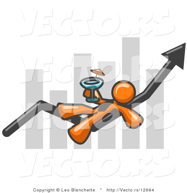 Vector of Orange Business Owner Guy Relaxing on an Increaswe Bar and Drinking, Finally Taking a Break