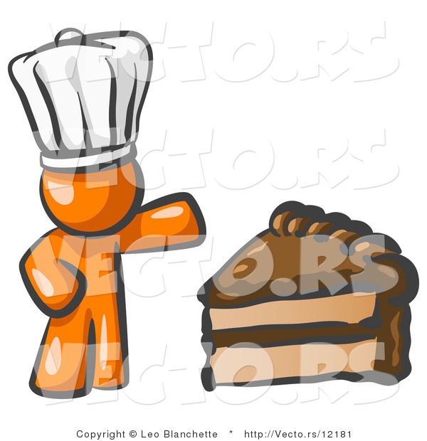 Vector of Orange Chef Guy Wearing a White Hat and Presenting a Tasty Slice of Chocolate Cake