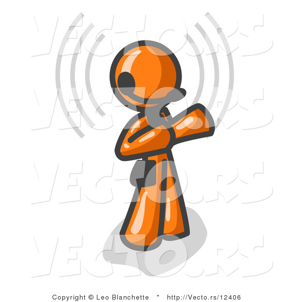 Vector of Orange Customer Service Guy Taking a Call with a Headset in a Call Center