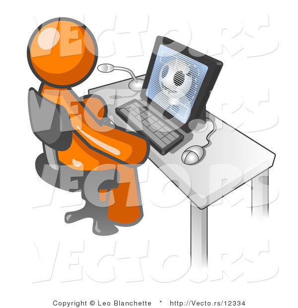 Vector of Orange Doctor Guy Sitting at a Computer and Viewing an Xray of a Head