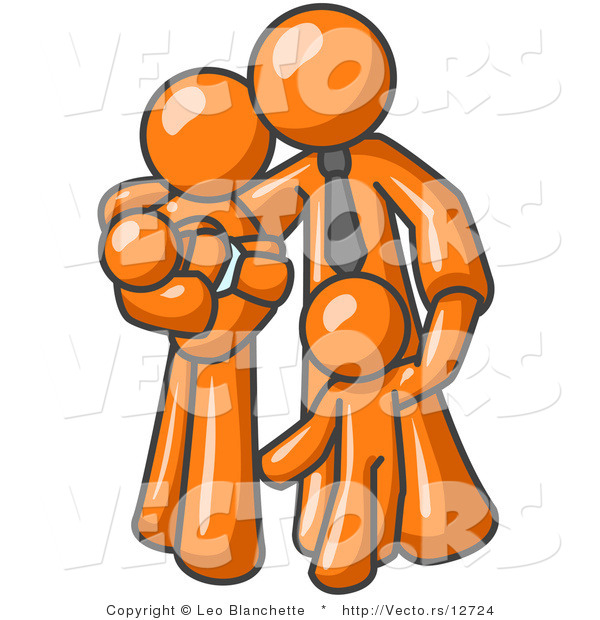 Vector of Orange Family Guy, a Father, Hugging His Wife and Two Children