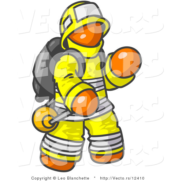 Vector of Orange Firefighter in a Uniform, Fighting a Fire