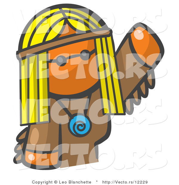 Vector of Orange Girl Hippie Waving