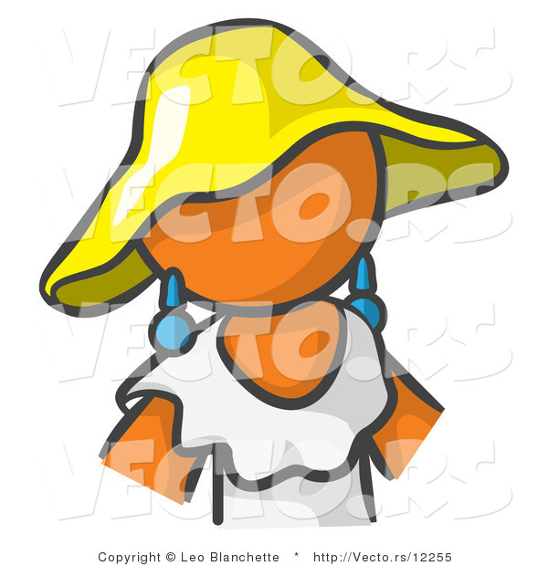 : Vector of Orange Girl in a White Dress and Yellow Hat