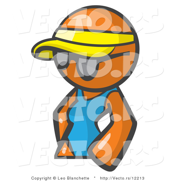 Vector of Orange Girl Wearing a Visor and Shades