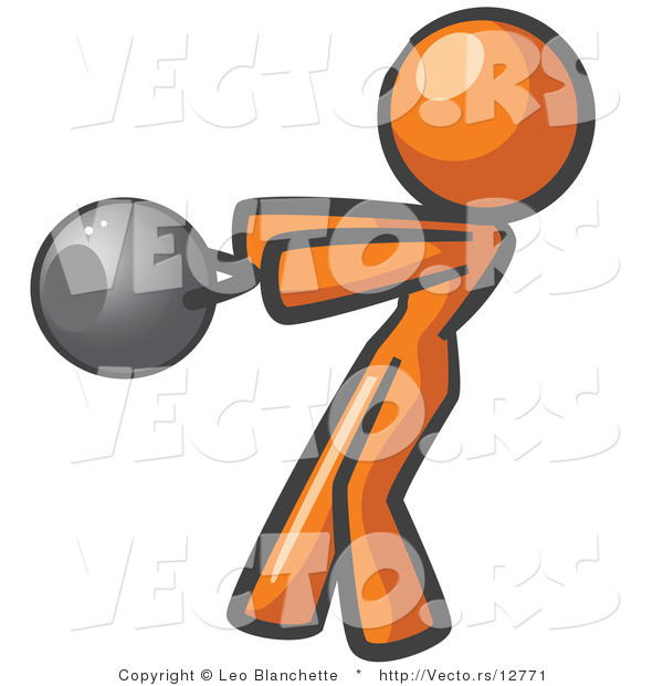 Vector of Orange Girl Working out with a Kettle Bell