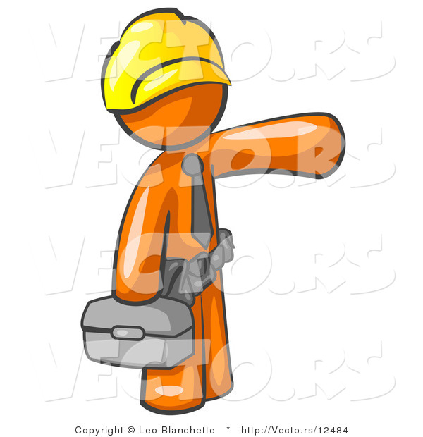 Vector of Orange Guy, a Construction Worker, Handyman or Electrician, Wearing a Yellow Hardhat and Tool Belt and Carrying a Metal Toolbox While Pointing to the Right