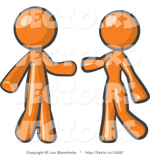 Vector of Orange Guy and Woman Preparing to Embrace