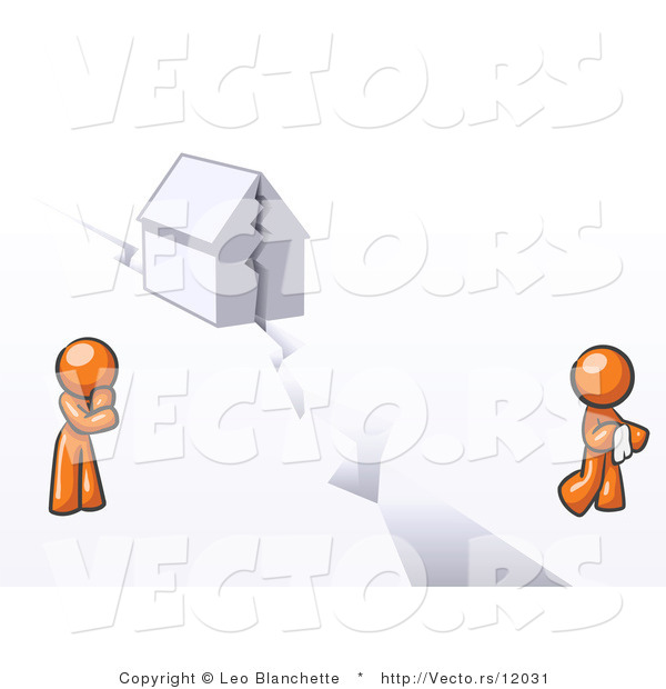 Vector of Orange Guy and Woman with a House Divided