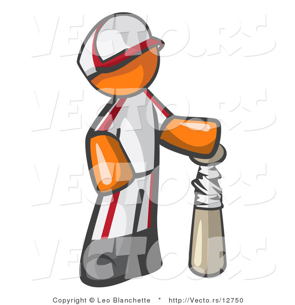 Vector of Orange Guy Baseball Player with a Bat