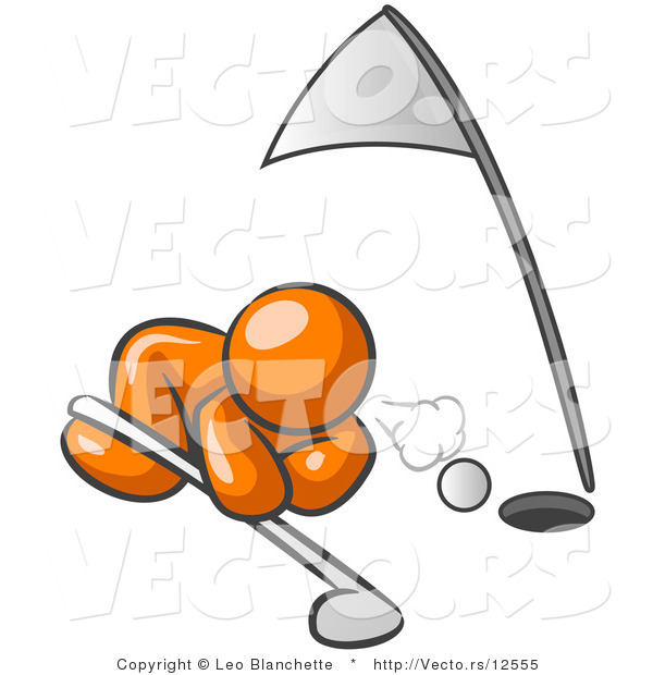 Vector of Orange Guy Blowing Golf Ball into Hole