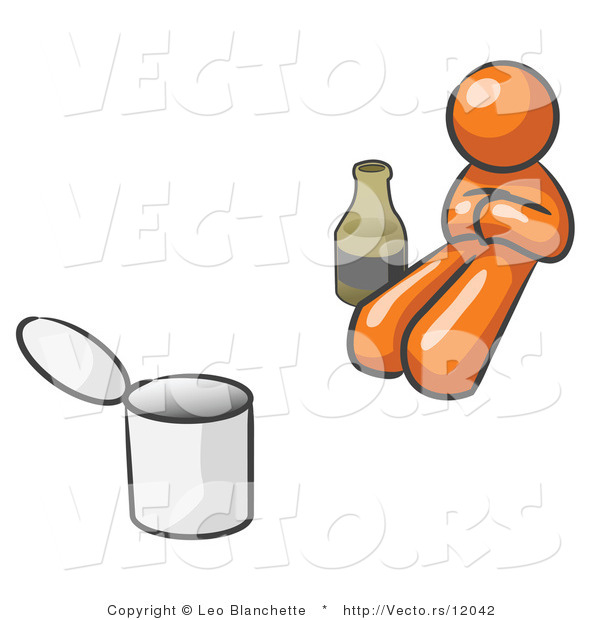 Vector of Orange Guy Bum with Alcohol and a Can