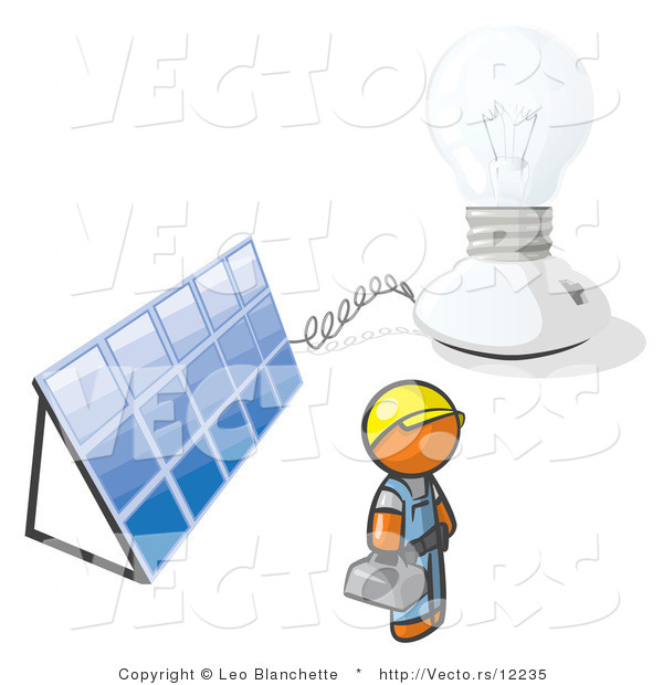 Vector of Orange Guy by a Light and a Solar Panel