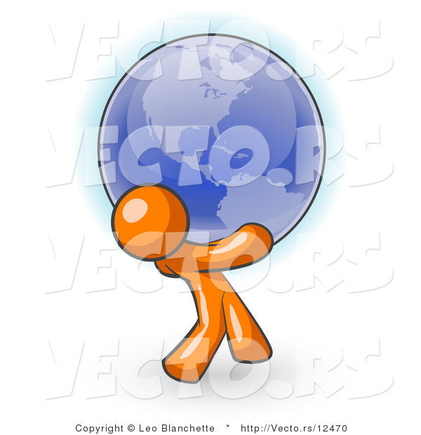 Vector of Orange Guy Carrying the Blue Planet Earth on His Shoulders, Symbolizing Ecology and Going Green
